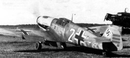 "Ostermann's Bf 109 F-2 ""white 2"" bearing 33 victory marks, September 1941."