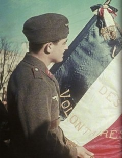 Luftwaffe flak crewman looking over the regimental flag of the Legion des Volontaires Francais.