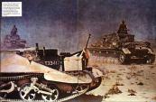German Panzer IVs advance a knocked-out British Bren gun carrier in Africa.