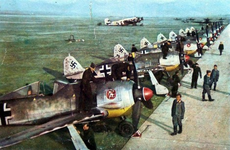 Rare color image of 6.Staffel / II.Gruppe / Schlachtgeschwader 1 (SG 1), January 1943, displaying 13 new Focke-Wulf Fw 190 A-5/U3s based on the Eastern Front at Deblin-Irema, Poland.