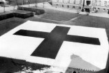 Large Red Cross flag placed in front of Ullevål Hospital on 10 April 1940.