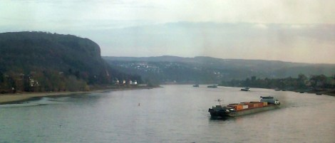 The Rhine river and former site of the Remagen Bridge from the northwest.