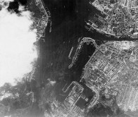 Aerial reconnaissance photo of Scharnhorst in Kiel after the Channel Dash.