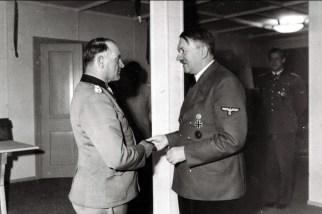 Sepp Dietrich receiving Brillanten from Hitler.