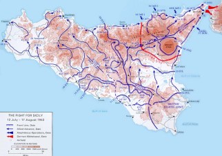 Map of Allied movements on Sicily during July.