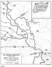 Map of the Remagen bridgehead 7–24 March 1945.