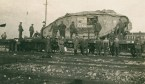 This tank was salvaged by the Germans from the battlefield of Cambrai. Here we see it loaded onto a railway wagon for transport back to Germany.