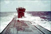 U-boat in the ocean.
