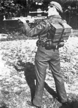 The Zielgerät ZG 1229 Vampir displayed by a British soldier.