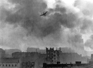 German Stuka Ju-87 bombing Warsaw's Old Town.