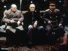 From left, British Prime Minister Winston Churchill, U.S. President Franklin Roosevelt and Soviet Premier Josef Stalin sit on the patio of Livadia Palace, Yalta, Crimea, in this February 4, 1945 photo. The three leaders were meeting to discuss the post-war reorganization of Europe, and the fate of post-war Germany.