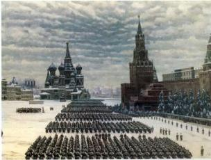 A 7 November 1941 parade by Soviet troops on Red Square depicted in this 1949 painting by Konstantin Yuon vividly demonstrates the symbolic significance of the event.