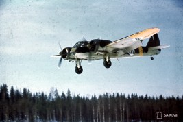 British made Bristol Blenheim light bomber aircraft of Finnish Air Force coming in for a landing on Luonetjärvi airfield (now Jyväskylä Airport), between 28 March 1944 and 31 March 1944. The yellow stripe at the tail of this Finnish plane was the designation for the German Eastern Front.