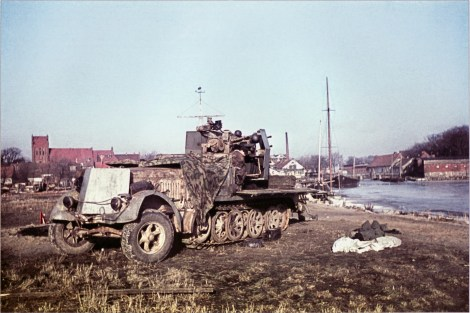 Abandoned SdKfz 7/1 in Fischhausen (now Primorsk in the Kaliningrad Oblast), March 1945, during the East Prussian Offensive, 13 January – 25 April 1945.