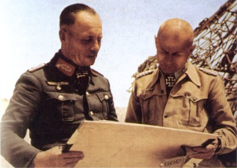 Stefan Fröhlich (as Generalmajor, right) with Erwin Rommel, January 1942.