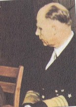 Generaladmiral Hans-Georg von Friedeburg at the German capitulation, 7 May 1945.