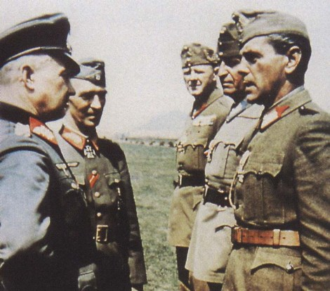 Generalfeldmarschall Walter Model questioning Hungarian officers with Generalleutnant (later General der Infanterie) Rudolf von Bünau.