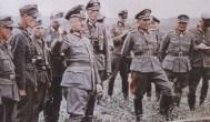 "Walter Model with General der Panzertruppe (later Generaloberst) Erhard Raus (with Deutsches Kreuz in Gold) and Generalleutnant (later General der Infanterie) Friedrich ""Fritz"" Schulz (2nd from right)."