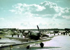 """This photo was taken at Rovaniemi (Finland), one morning in early April 1944. It depicts a Junkers Ju 87 """"Stuka"""" D-5 of the 4.Staffel / II.Gruppe / Schlachtgeschwader 1 (SG 1). Note the white ring around the spinner in the Staffel color."""
