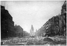 The ruins of the Kaiser-Wilhelm Church (Kaiser-Wilhelm-Gedächtniskirche - known mainly as Memorial Church) from a distance, Berlin 1945. This church was destroyed during heavy bombing in 1943.