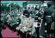 Reichs Veterans Day at Kassel, Germany, 4 June 1939. From right to left : ?, Gauleiter Karl Weinrich, Adolf Hitler, Erich Raeder, Walther von Brauchitsch, Wilhelm Keitel, Heinrich Himmler, Franz Ritter von Epp, and Martin Bormann.