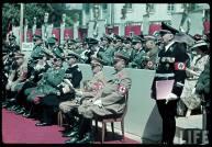 Reichs Veterans Day at Kassel, Germany, 4 June 1939. From right to left : Reichspressechef Otto Dietrich, Carl Eduard The Duke of Saxe-Coburg and Gotha, Gauleiter Karl Weinrich, Adolf Hitler, Erich Raeder, Walther von Brauchitsch, Wilhelm Keitel, Heinrich Himmler, Franz Ritter von Epp, and Martin Bormann.