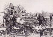 Luftwaffe soldats in a Russian village.