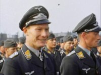 Leutnant Werner Baumbach (left) in Luftwaffe ceremony.