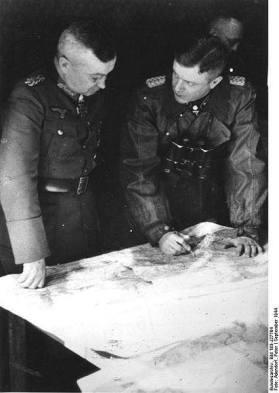 Field Marshall Walter Model and SS General Heinz Harmel.