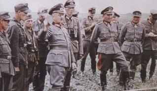 "Walter Model with General der Panzertruppe (later Generaloberst) Erhard Raus (with Deutsches Kreuz in Gold) and Generalleutnant (later General der Infanterie) Friedrich ""Fritz"" Schulz (2nd from right)"
