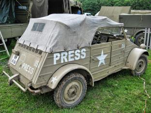 Captured Kubelwagen used by Americans for Normandy 70th Anniversary of D-Day- Dog Green Camp at Omaha Beach -2014
