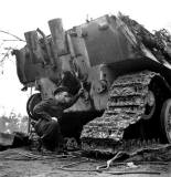 Canadians inspect a Jagdpanther, Reichswald, Germany.