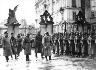 Adolf Hitler on his visit to Prague Castle after the establishment of a German protectorate.