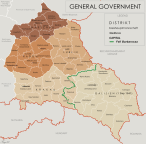 Administrative map of the General Government, July 1941 – January 1944 following Barbarossa.