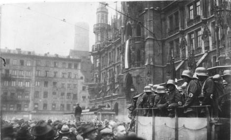 The Marienplatz in Munich during the Beer Hall Putsch.