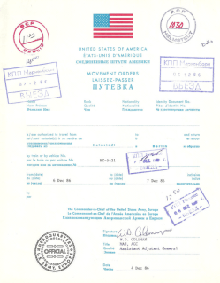 Travel orders to go to Berlin as used by U.S. forces in the 1980s