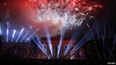 Fireworks over Brandenburg Gate followed the release of the balloons.