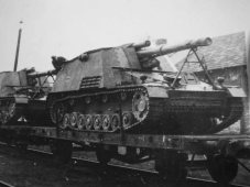 Hummel from the 1st Panzer Division SS Leibstandarte SS Adolf Hitler on rail transports.