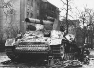 Destroyed Hummel gun in Berlin, 1945.