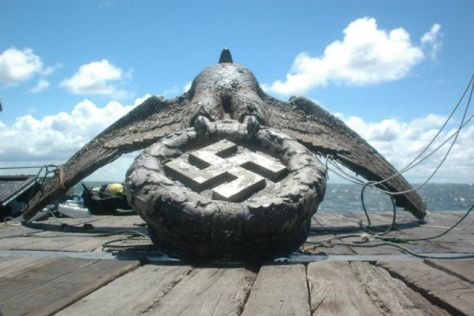 A bronze Nazi sculpture dried off on deck in Montevideo after being pulled back above the waves in 2006 for the first time in more than half a century.