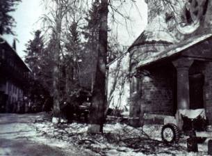 Hotel du Moulin and church 1944