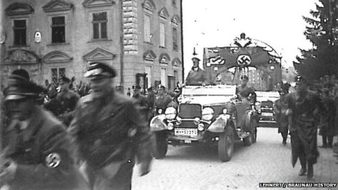 Hitler visited Braunau after Austria was annexed by Nazi Germany in 1938.