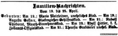 A cutting from a local newspaper in April 1889 records the birth of 'Adolf Hittler'.