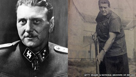 Otto Skorzeny pictured in his Nazi uniform, and working on his farm in County Kildare.