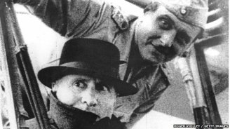 Otto Skorzeny with Benito Mussolini after the dictator's dramatic rescue in 1943.