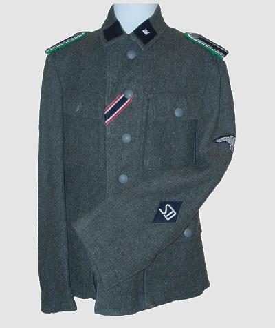 M43 uniform with SS Sicherheitsdienst insignia.