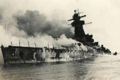 Picture taken Dec. 17, 1939, in front of the port of Montevideo, Uruguay of the sinking Graf Spee.