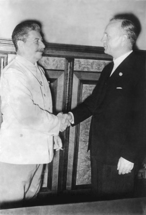 Stalin and Ribbentrop after the signature of the Molotov–Ribbentrop Pact, August 23, 1939.
