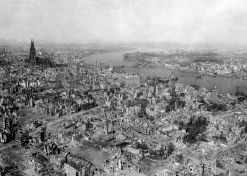 The Hohenzollern Bridge (center) in Cologne was destroyed after 1 March by German engineers before the Americans could capture it.
