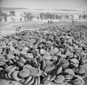 A captured dump of German landmines.